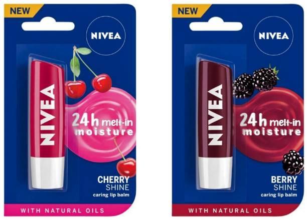 NIVEA Shine Caring Lip Balm #6 Cherry Shine, Berry Shine