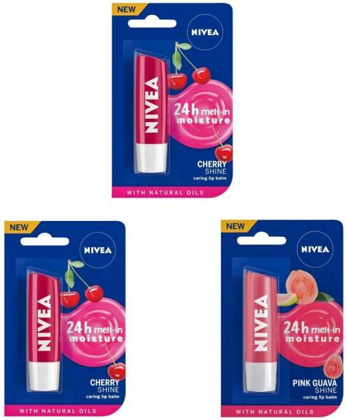 NIVEA Shine Caring Lip Balm #34 Cherry Shine, Cherry Shine, Pink Guava Shine