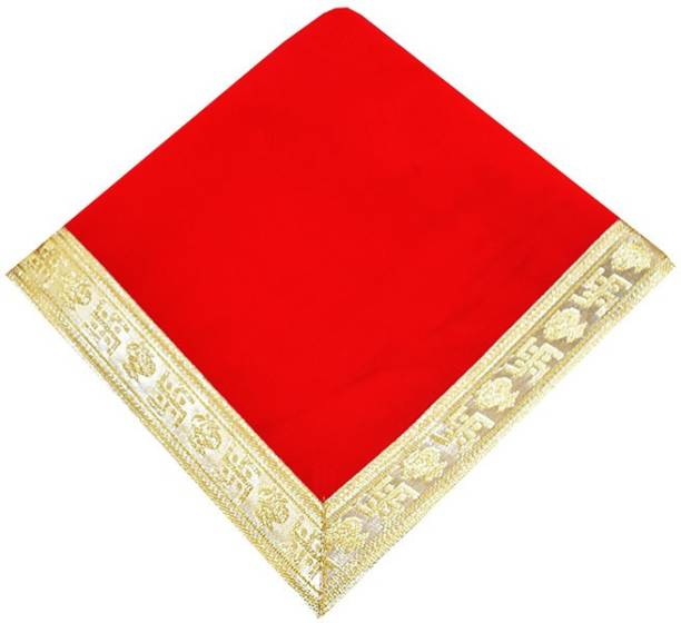 Marshland Pooja Chowki Aasan/ 0.46X0.46 CM Chowki Kapda For Pooja velvet Cloth Altar Cloth