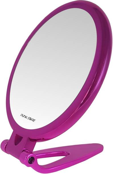 Puna Store 5X Magnifying Two Side Tabletop Hand Held Vanity Cosmetic Mirror (Magenta Pink)