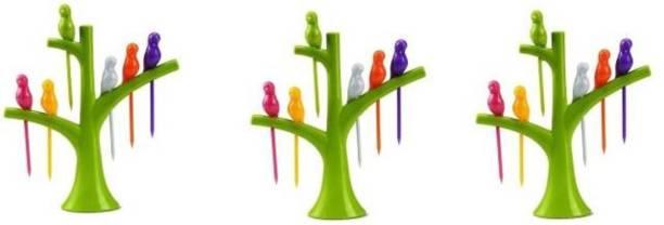 kewin plastic bird fruit fork set of 3 Plastic Fruit Fork, Salad Fork Set