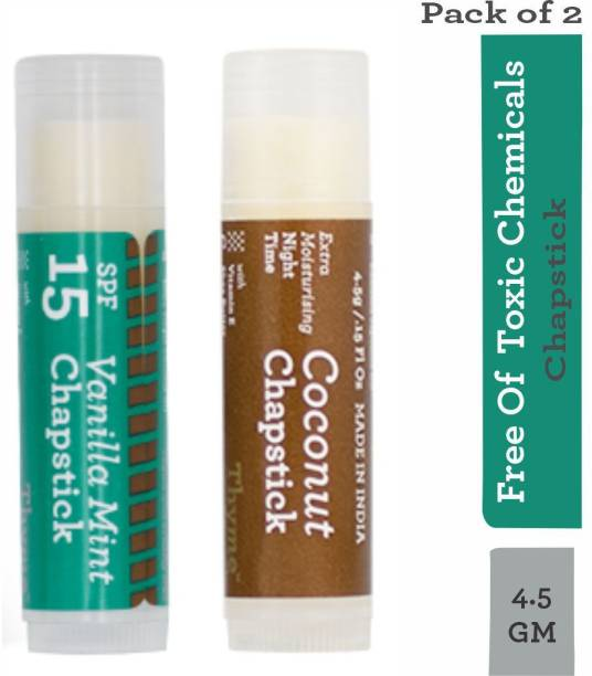 Thyme Organic Lip Chapstick/ Lip Balm - Vanilla Mint Flavour with SPF 15 & Coconut Flavour with Extra Moisturising- 100% Toxic Chemical Free/Natural/Organic/Vegan & Cruelty Free- (Pack of 2x4.5 gms) Vanilla Mint, Coconut (Pack of: 2, 4.5 g) Vanilla Mint, Coconut