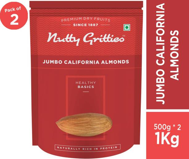 Nutty Gritties Jumbo California Almonds - Pack of 2(500 GMS each) Almonds