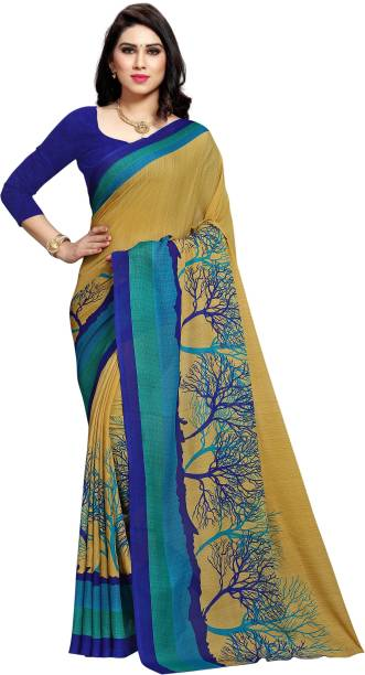 Anand SAREES Ombre, Striped, Floral Print Daily Wear Georgette Saree