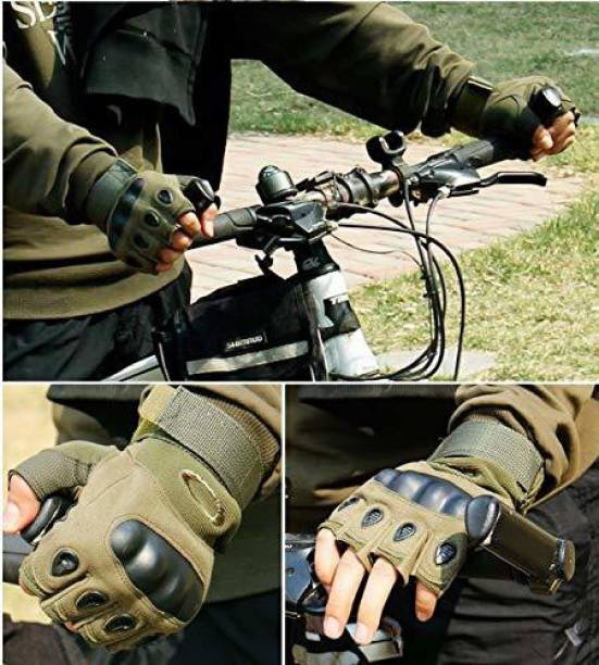 zaysoo Gloves Military Rubber Hard Knuckle Gloves Fingerless Tactical Green Cycling Gloves