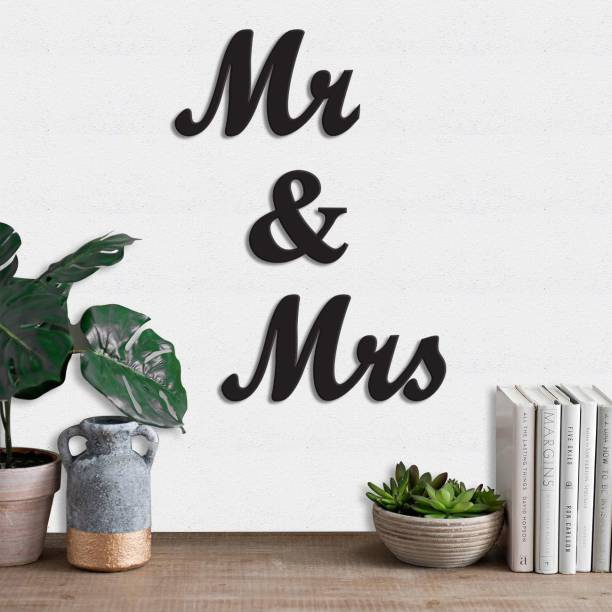 Dravin Craft Mr & Mrs MDF Plaque Painted Cutout Ready to Hang Home Décor Wall Art