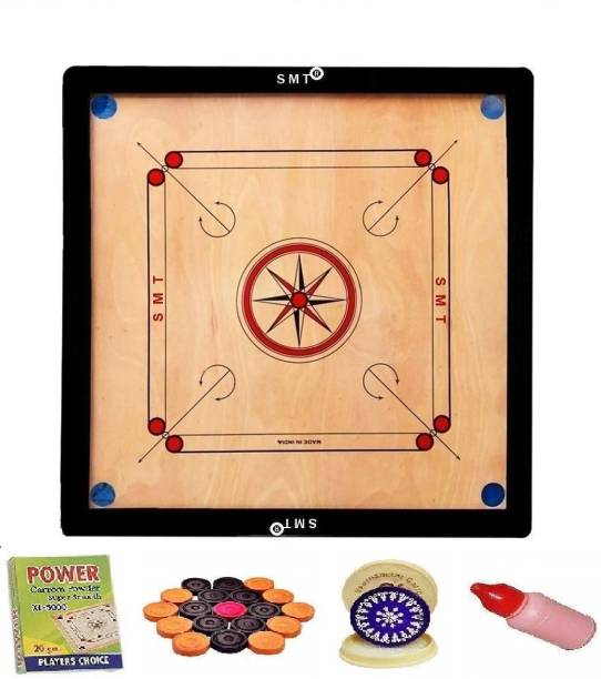 SMT Carrom Board with Coins Striker and Boric Powder Combo Number Three 81.28 cm Carrom Board