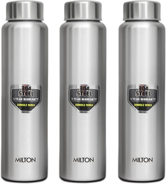 MILTON Aqua Stainless Steel Single Wall Fridge Water Bottle 950 ml, Set Of 3, Silver 950 ml Bottle