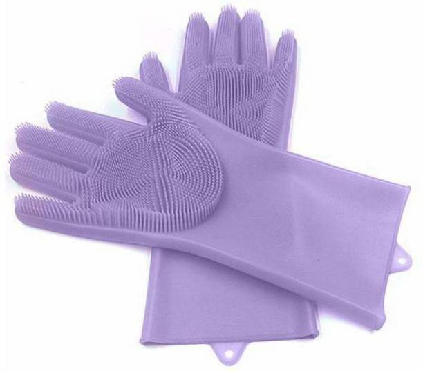 GJSHOP Silicone Dish Washing Gloves, Silicon Cleaning Gloves, Silicon Hand Gloves for Kitchen Dishwashing and Pet Grooming, Great for Washing Dish, Car, Bathroom IOX02 (Multicolor, 1 Pair) Wet and Dry Glove