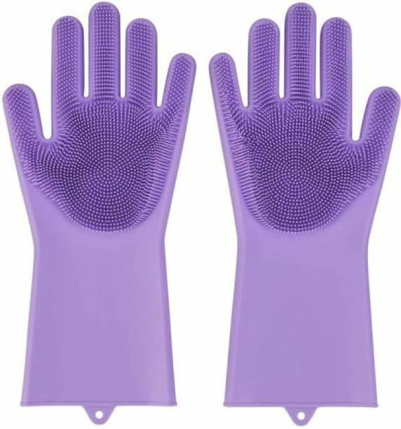 Shopeleven Rubber Silicon Household Safety Wash Scrubber Heat Resistant Kitchen Gloves for Dish washing, Cleaning, Gardening Wet and Dry Glove hand gloves for kitchen Wet and Dry Glove (Free Size) Wet and Dry Glove Set