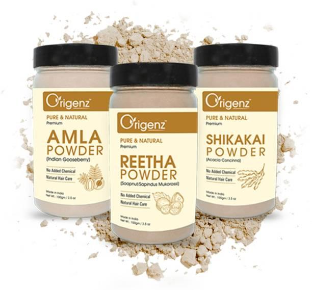 Origenz Premium Amla, Reetha, Shikakai Powder for Healthy Hair, Pack of 3