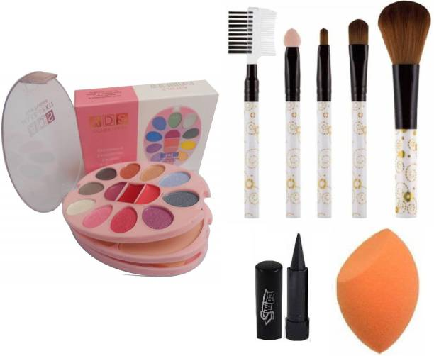 SWIPA Kajal+Makeup Kit+5Pcs Pcs Makeup Brush+Blunder Puff(Multicolour)