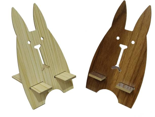 PagKis Cute Bunny Style Wooden Mobile Phone Stand - Table Top Type - Pack of 2 Mobile Holder