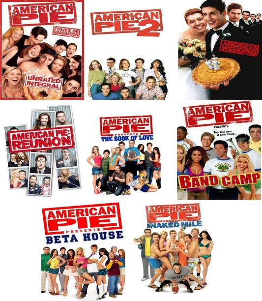 American Pie Series (1, 2, Naked Mile, Band Camp, Beta House, Book of love, Wedding, Reunion) it's burn data DVD play only in computer or laptop it's not original without poster (HD PRINT CLEAR VOICE)