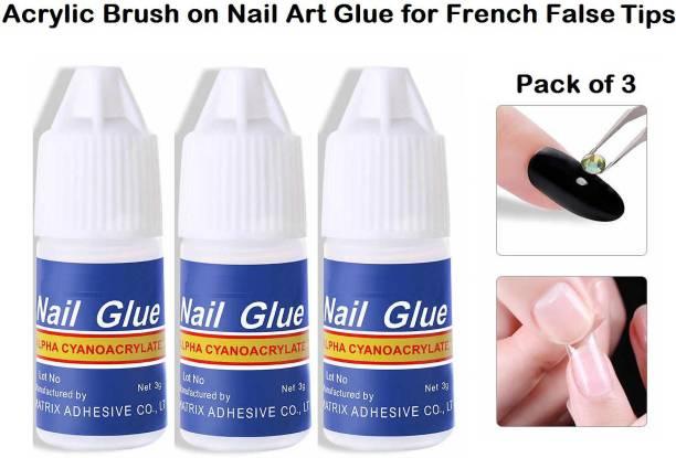 SUSVIJ 3 Pcs Nail Glue For Artificial Nail Waterproof Nail Adhesive Bottle Acrylic nails Professional Nail Art Gum Fake Nails Extension