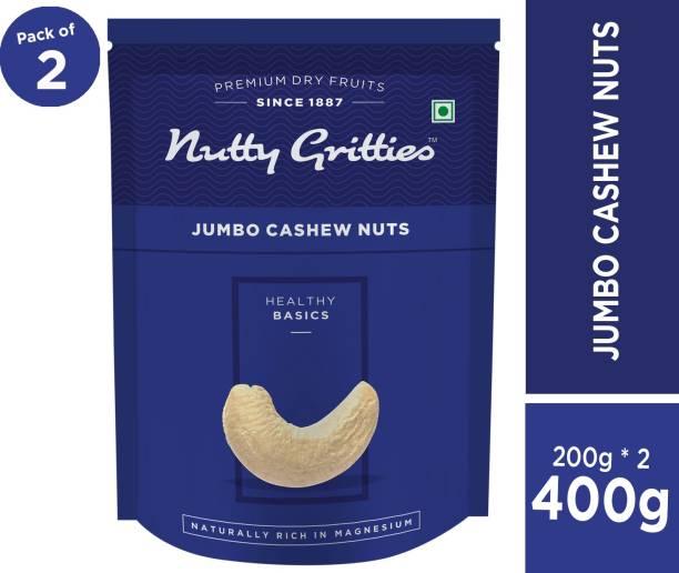 Nutty Gritties Jumbo Cashew Nuts - Pack of 2(200 GMS each) Cashews