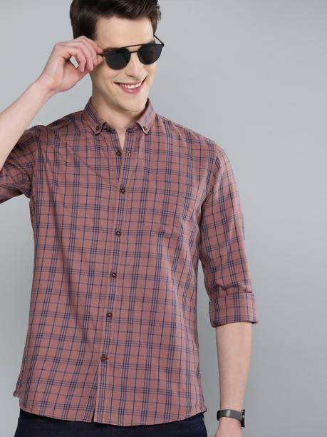 MAST & HARBOUR Men Checkered Casual Brown Shirt