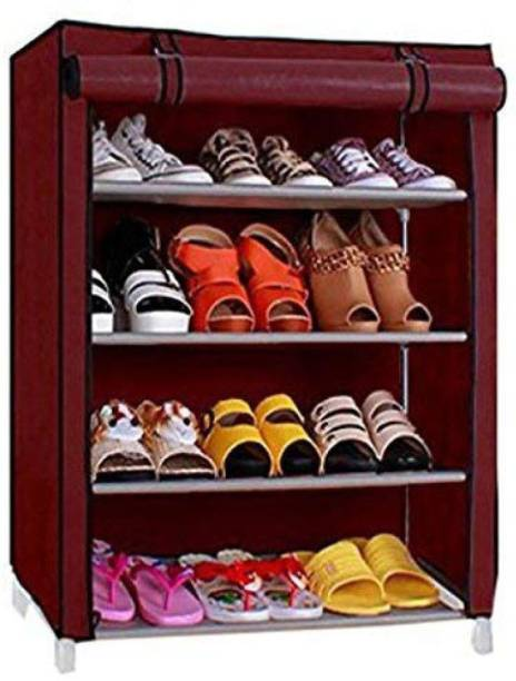 HARISWARUP Steel and Fabric Multipurpose Portable 4-Layered Shoe Rack (Multicolour) Plastic Collapsible Shoe Stand