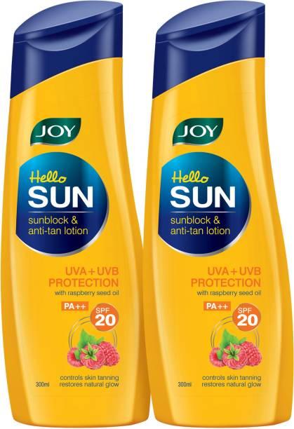 Joy Hello Sun Sunblock & Anti-Tan Lotion SPF 20 (Pack of 2 X 300 ml) - SPF 20 PA++