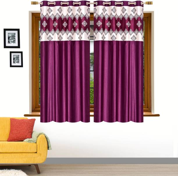 Stella Creations 152 cm (5 ft) Polyester Window Curtain (Pack Of 2)