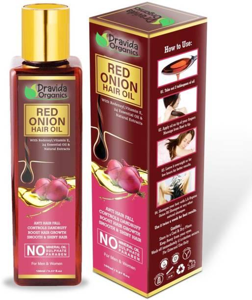 Dravida Organics Red onion Hair Oil with Keratin Protein , Nourishes hair follicles, Anti - Hair loss, Regrowth hair Hair Oil