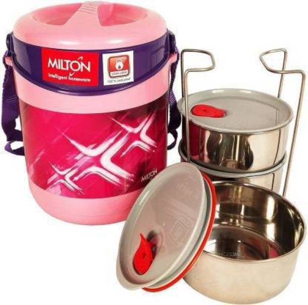 MILTON ECONA DELUXE 3 TIFFIN (PINK1) 3 Containers Lunch Box