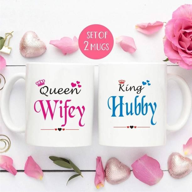 VA International W4-King Husband Queen Wife Couple Ceramic Coffee MUG Set of 2 (325ml) Ceramic Coffee Mug