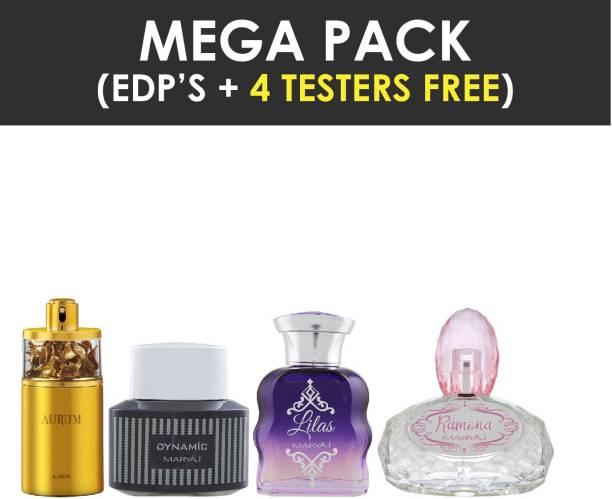 Ajmal Aurum EDP 75ml Fruity perfume for Women & Maryaj Dynamic For HIM EDP 100ml & LILAS FOR HER EDP 100 ML & RAMONA FOR HER EDP + 4 Parfum Testers Eau de Parfum  -  100 ml