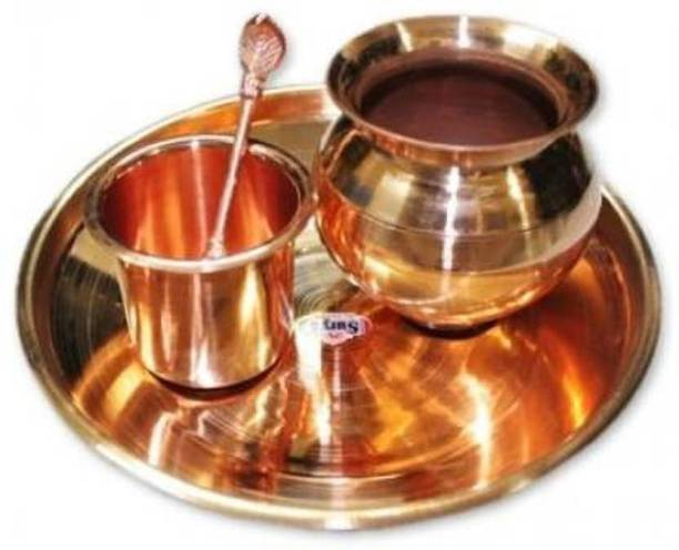 OgCombo 100% Premium finish Small Size Pooja Plate Pooja Plate WITH PUJA Kalash Lota Copper AND Copper Panch Patra with Spoon for Poojan Purpose Bronze