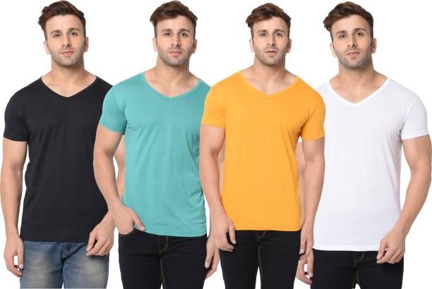 Jangoboy Solid Men V Neck Multicolor T-Shirt