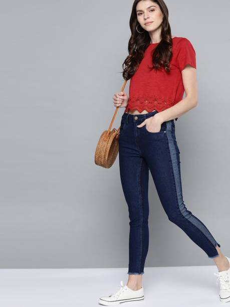MAST & HARBOUR Casual Short Sleeve Solid Women Red Top