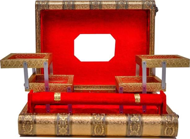 Buzon Handi Crafts Oxidised Meenakari Work Jewelry Box, antique wooden red velvet box, Golden Work antique look, Wedding gift Box, Bangle Box Jewellery Box Vanity Box Jewellery Vanity Box