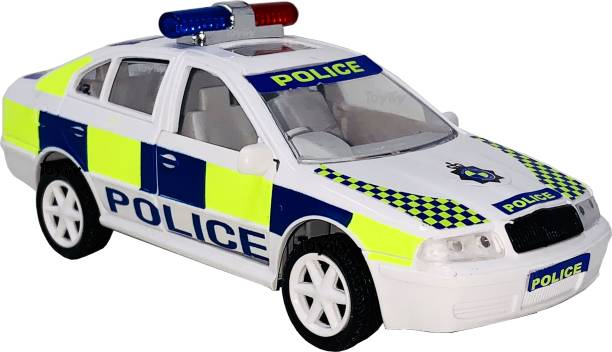 Miniature Mart UK POLICE PLASTIC PULL BACK TOY CARS FOR KIDS