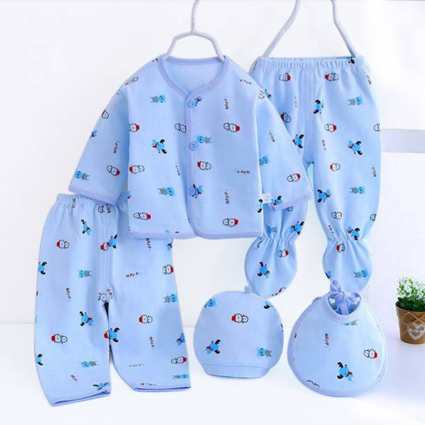PIKIPOO Presents New Born Baby Summer Wear Baby Clothes 5Pcs Sets 100% Cotton Baby Boys Girls Unisex Baby Cotton/Summer Suit Infant Clothes First Gift For New Born.(Blue, 0-6 Months)