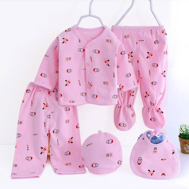 PIKIPOO Presents New Born Baby Summer Wear Baby Clothes 5Pcs Sets 100% Cotton Baby Boys Girls Unisex Baby Cotton/Summer Suit Infant Clothes First Gift For New Born.(Pink, 0-6 Months)