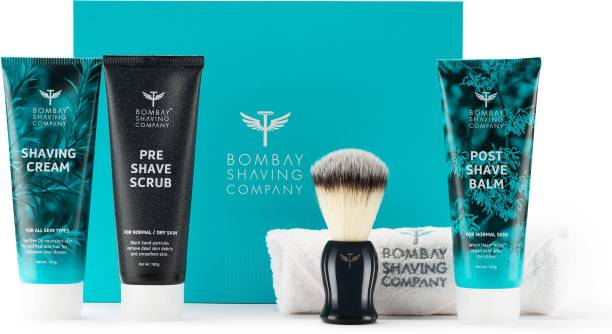BOMBAY SHAVING COMPANY Shaving Essentials Gift Kit - Shaving Cream, Scrub, Post Shave Balm, Immitation Badger Brush for Valentine's Day (5 Items in the set)