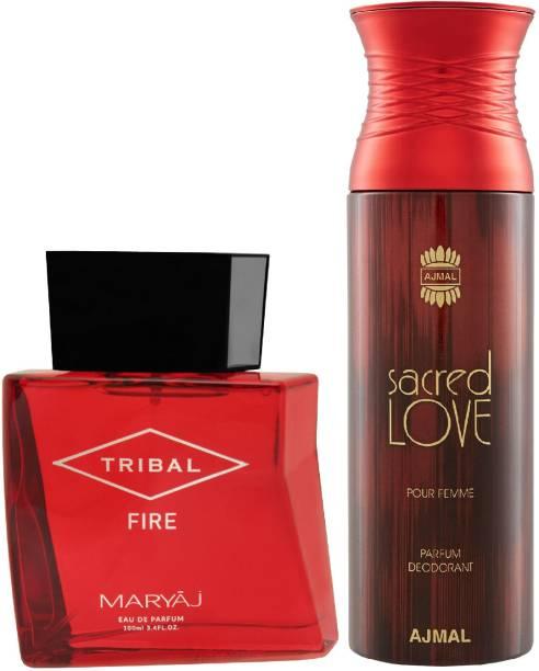 Ajmal Sacred Love Deodorant Floral Musky Fragrance 200ml and Tribal Fire EDP Woody Ambery Perfume 100ml +2 Parfum Testers