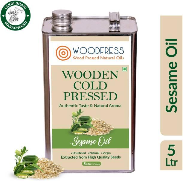 WOODFRESS Wooden Cold Pressed Sesame Oil 5L - Gingelly, Til ka Tel, El enney (Wood Pressed / Lakdi Ghani / Marachekku) Sesame Oil Tin