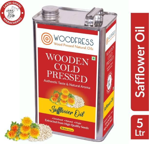 WOODFRESS Wooden Cold Pressed Safflower Oil 5L - Kardai, Kardi, Kusum ka Tel (Wood Pressed / Lakdi Ghani / Marachekku) Safflower Oil Tin