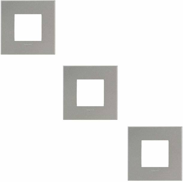Legrand 575812 Magnesium cover plates with frame - 2 module (Magnesium,Pack of 3) Wall Plate