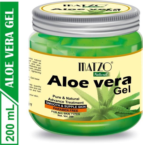 Matzo Natural Pure Multipurpose Aloe Vera Gel for Skin Hair and Beard Care - Paraben Free