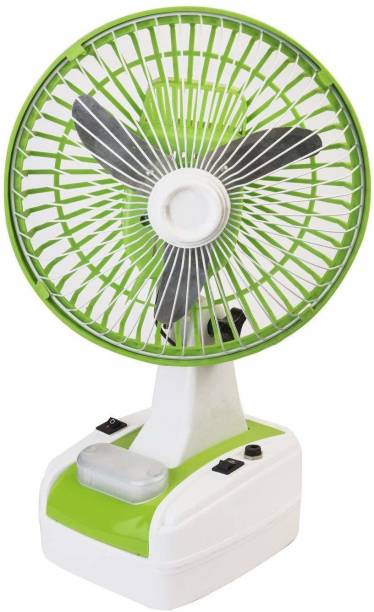 GLOBEX 8-Inch Rechargeable Table Fan with LED Lamp 1400 mm 3 Blade Table Fan