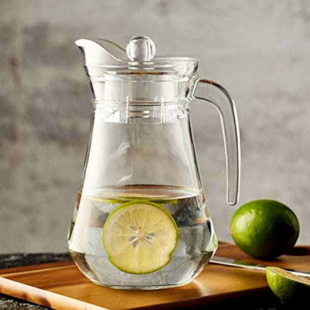 Samear 1.5 L Water 1Ltr Water Jug Glass Water Pitcher with plastic Lid, Beverage Jug for Juice Lemon Water Iced Tea, Water Carafe with Handle Jug