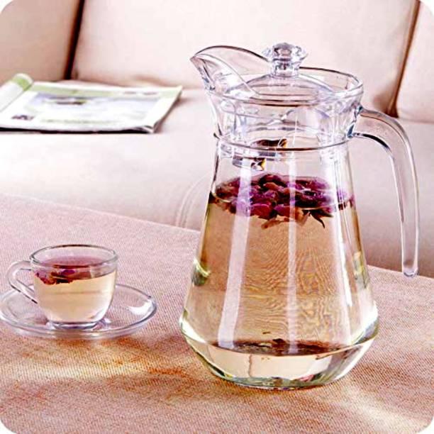 Samear 1.5 L Water Water Jug with plastic Lid, Beverage Jug for Juice Lemon Water Iced Tea, Water Carafe with Handle Jug