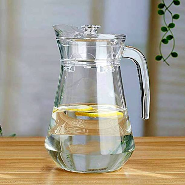 FABINDI 1.5 L Water 1.5 Ltr Water Jug Glass Water Pitcher with plastic Lid, Beverage Jug for Juice Lemon Water Iced Tea, Water Carafe with Handle Jug