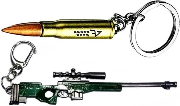 MASHKI PUBG Bullet & AWM Green Gun Keychain Combo with Green AWM New Key Rings / PUBG Key chain Key Chain