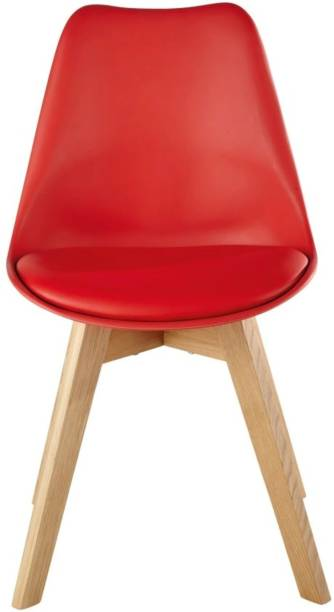 Finch Fox Eams Replca Plastic Padded Solid Wood Legs Seat Dining Chair (Red) Plastic Living Room Chair