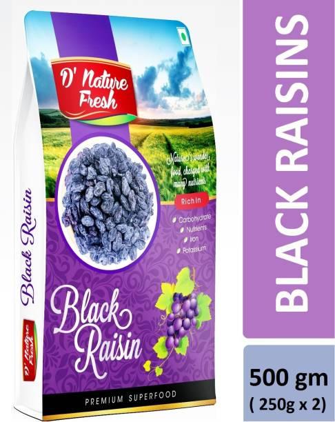 D NATURE FRESH Black Raisins 500gm (250g x2) Raisins