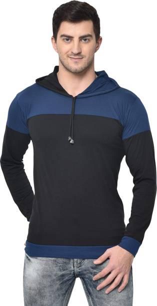 3SIX5 Color Block Men Hooded Neck Black T-Shirt