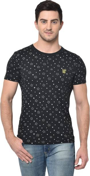 3SIX5 Printed Men Round Neck Black T-Shirt